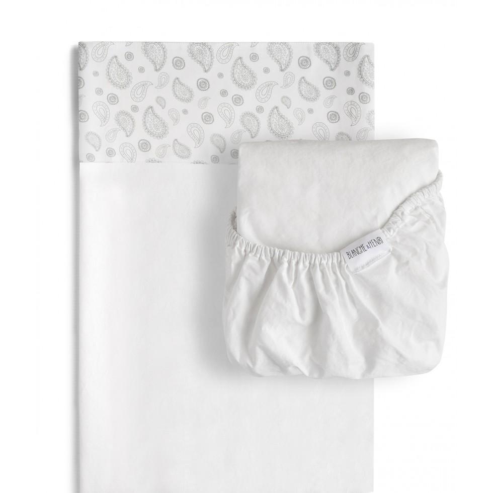 ensemble de draps de la collection l 39 l phant qui comprend le drap housse blanc et le drap semi. Black Bedroom Furniture Sets. Home Design Ideas