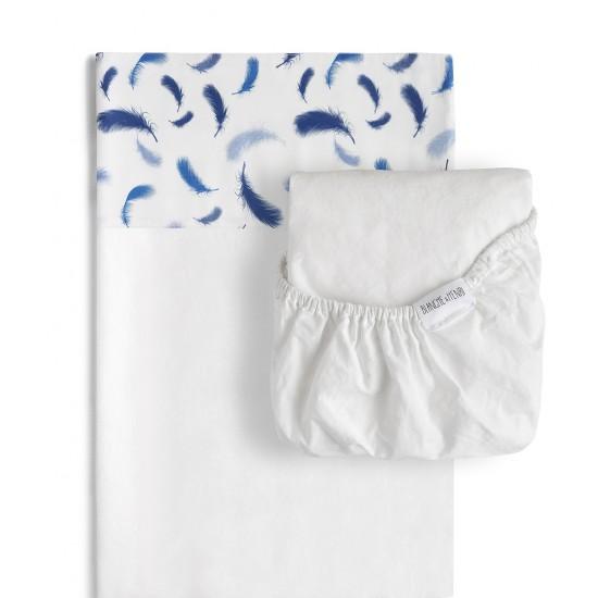 ensemble de draps de la collection la plume de blanche henri qui comprend le drap housse blanc. Black Bedroom Furniture Sets. Home Design Ideas